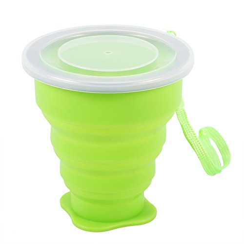 Silicone Retractable Folding Cup Telescopic Collapsible Outdoor Travel Portable Mug with Lid Blue Green Rose Red(Green)
