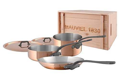Mauviel M'Heritage M150C2 6450.01WC -5 Piece Copper Cookware Set with crate Cast Stainless Steel Handle with Iron Color Finish ()