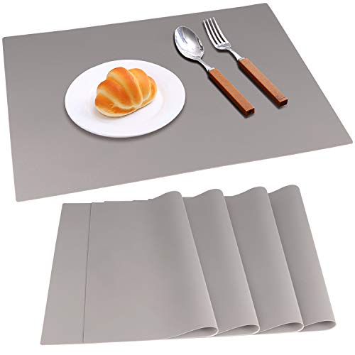IVYOUNG Large Reusable Silicone Placemats for Dining Kitchen Table Heat-Resistant Baking Mat Countertop Protector, Non-Slip Flexible Washable Dining Mats(Set of 4,Grey)