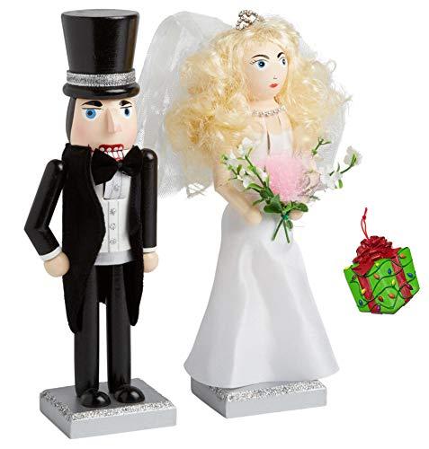 Distinctive Designs Bride & Groom Wedding Set of Two Decorative Holiday Season Wooden Christmas Nutcracker & Bonus Tree Ornament