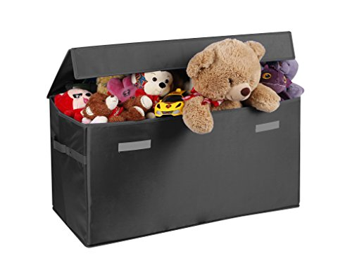 - Prorighty Collapsible Toy Chest for Kids (XX-Large) Storage Basket w/Flip-Top Lid | Toys Organizer Bin for Bedrooms, Closets, Child Nursery | Store Stuffed Animals, Games, Clothes (Black)