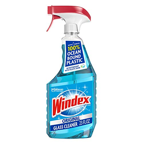 Windex Glass and Window Cleaner Spray Bottle, Bottle Made from 100% Recycled Plastic, Original Blue, 23 fl oz.