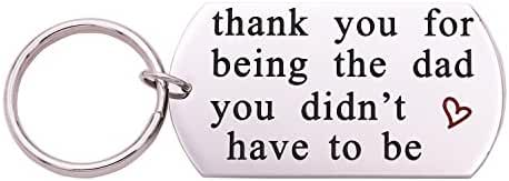 Melix Home Stainless Steel Step Daddy Keyring - 'thank you for being the dad you didn't have to be'