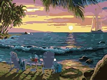 ifymei Paint By Number Kits Paintworks DIY Oil Painting for Kids and Adults (Sunset beach harbor view) …