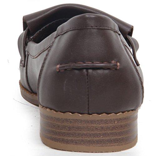 Brown de cuero On Casual Slip Tassel Heel imitación Pepper Mocasines Shoes mujer para de Low para mujer Salt Toe 8HUXqwx