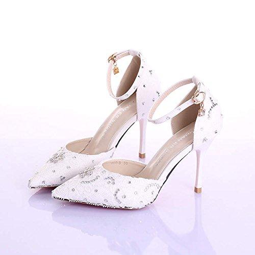 Si& Hochzeitsschuhe der Frauen / Brautjungfer und Braut / Sweet Princess / Stiletto Ferse / Spitzzehe / High-Heels Sandalen / weiße Tanzschuhe 9CM