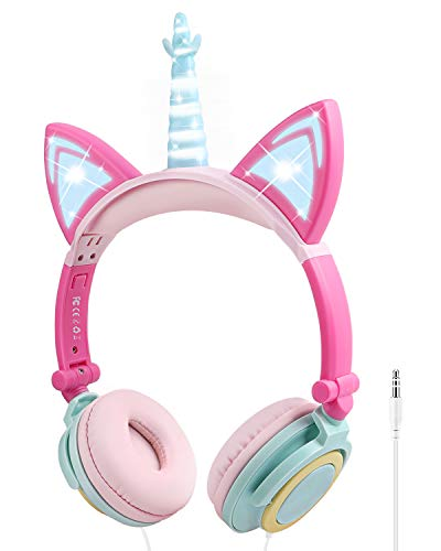 Unicorn Kids Headphones with Microphone, Over-Ear Cat Headphones Wired for Girls Boys Adjustable Foldable 85dB Volume Limited Headset School Travel(Multicolor)