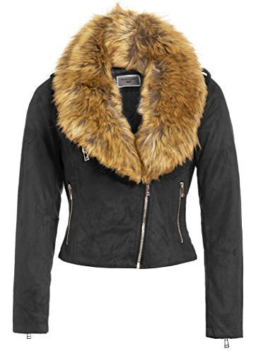 c77024b88 SS7 Women's Faux Suede Fur Biker Jacket, Sizes 8 to 16 (UK - 8, Black Suede)
