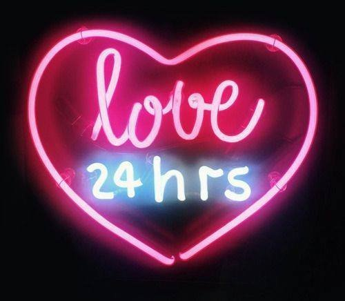 Urby® Love 24hrs Neon Light Sign Beer Bar Pub Real Glass 17''x13'' High Quality! NA49