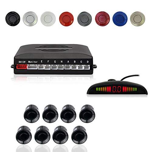 EKYLIN Car Reverse Parking Radar System with 8 Parking Sensors Distance Detection + LED Distance Display + Sound Warning (Black Color)