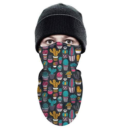 wear Seamless Pattern with Cactus Colorful Windproof Winter Ski Mask Balaclava for Motorcycle Cycling Bike Bandana Hiking Snowboarding Skiing ()