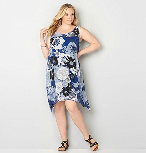 AVENUE-Womens-Blue-Floral-Trapeze-Dress
