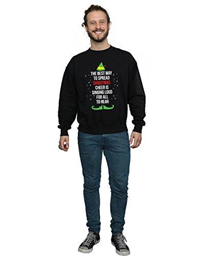 Elf Entrenamiento Negro Text Cheer Christmas De Hombre Camisa qxBqpZ87R
