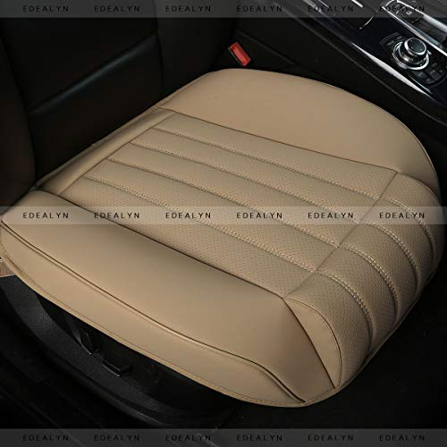 (EDEALYN (1 PCS) Car Seat Cover Width20.86 by deep 20.86 inches PU Leather Auto Bottom Seat Protector Cover with Comfort Leg Support Pillow Fit Most Front Driver Seat (Beige with)
