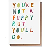 Wunderkid Funny Valentines Day Card, Not a Puppy Love Card (Individual, Blank inside)