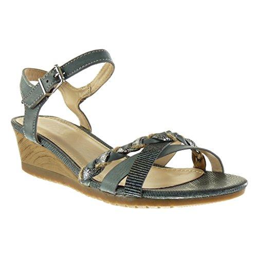 Angkorly - damen Schuhe Sandalen Mule - String Tanga - Geflochten - glänzende Keilabsatz 5 CM - Blau