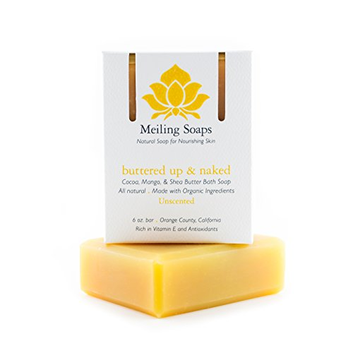 Buttered Up & Naked Unscented Organic Soap for Sensitive Skin – Organic Shea Butter Soap w Mango Butter Cocoa Butter & Vitamin E - 6 Ounce Moisturizing Organic Soap Bar from Meiling Soaps