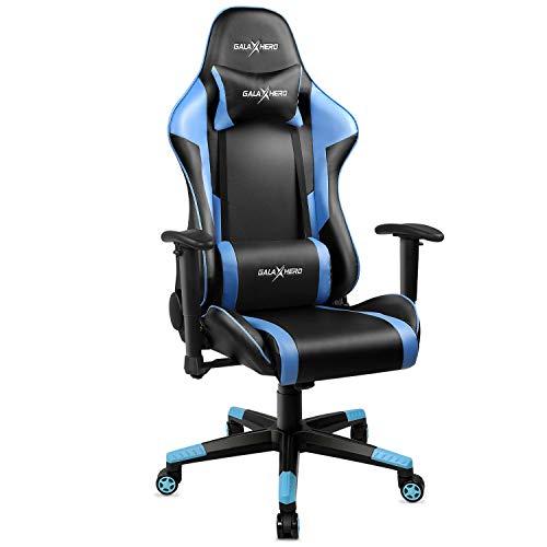 GALAXHERO Ergonomic Racing Style Gaming Chair, PU Leather High-Back Swivel Chair with Headrest and Lumbar Support, Blue GALAXHERO