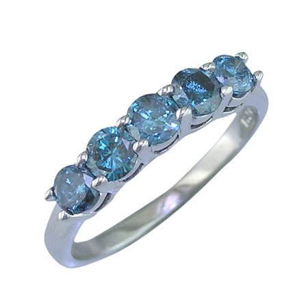 1 CT 5 Stone Blue Diamond Ring 14K White Gold In Size 8 (Available In Sizes 5 – 10)