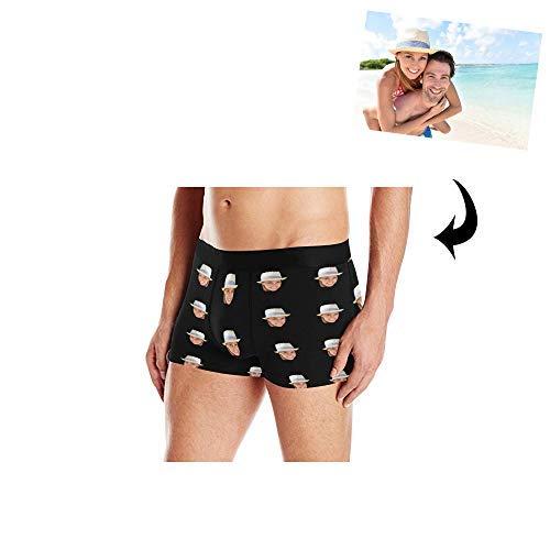 (Custom Men's Print Boxer Briefs Underwear with Wife's Face Black)