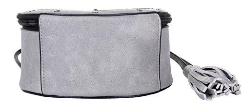 Body Gray Handbag Zippered QZUnique Shape Shoulder Cute Women's Tassel Tote Clock Round Bag PU Cross Satchel T7xZ7a