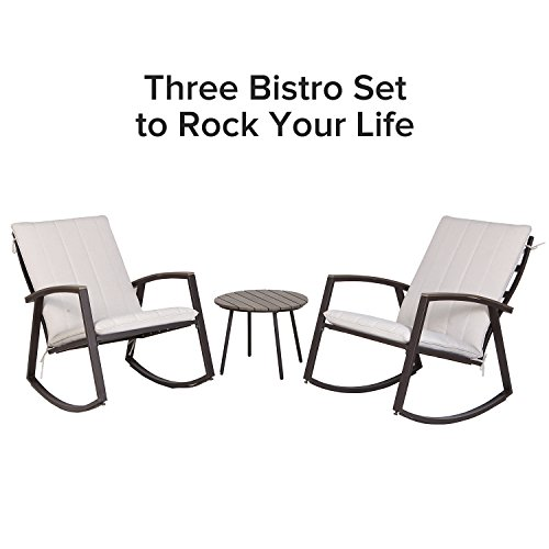 Grand patio 3 Pcs Patio Furniture Conversation Set, Bistro Set with Two Rock Chairs and Polywood Table (Beige (Grand Wicker Rocking Chair)