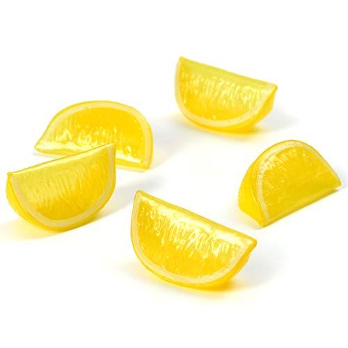 Lemon Slices - Hagao Artificial Fruit Yellow Lemon Block Wedge Slice Simulation Lifelike Fake for Home Party Kitchen Decoration Teaching Aids-10 pcs