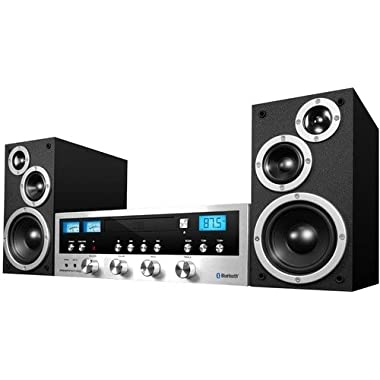 Innovative Technology Classic Retro Bluetooth Stereo System with CD Player, FM Radio, Aux-In, and Headphone Jack, Silver and Black