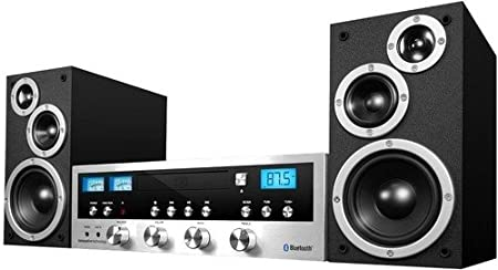 Innovative Technology Classic Retro Bluetooth Stereo System CD Player, FM Radio, Aux-in Headphone Jack, All Black ITCDS-5000-Black