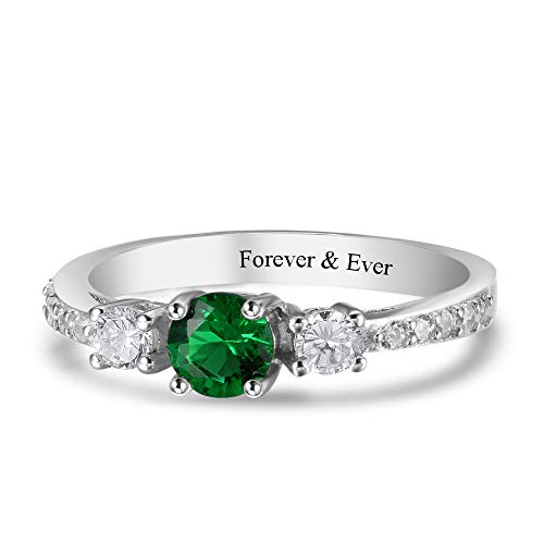 Luolajewelry Personalized Engagement Women Rings Name Engraved with 3 Simulated Birthstones Promise Rings for Her (6)