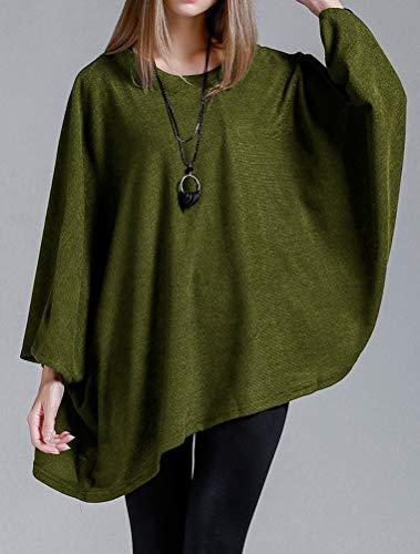 Bouffant Pull Vert Sweater Matchlife Tricoté Basique Loose Longues Jumper Tops Chaud Pullover Casual Manches Femme Tricotés qwHwzEBa