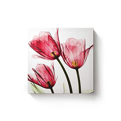 EZON-CH 20 x 20 Inch Canvas Wall Art Square Oil Painting Office Home Modern Decor,Red Tulip Flower Art Pattern Canvas Artworks,Stretched by Wooden Frame,Ready to Hang