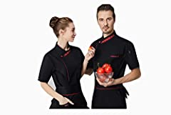 Men's and women's professional jacket ladies short-sleeved dress short-sleeved jacket jacket is destined to be hotel uniforms. Ideal for chefs, waiter catering and chefs, hotels, etc.Applicable occasions: chef clothesFunction: anti-fouling an...