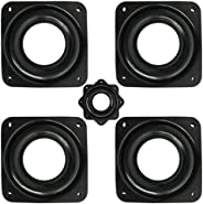 4 Pcs 3 Inch Square Turntable Bearing Plate,360 ° Turntable Swivel Plate,for Bar Stools,Chairs,Black