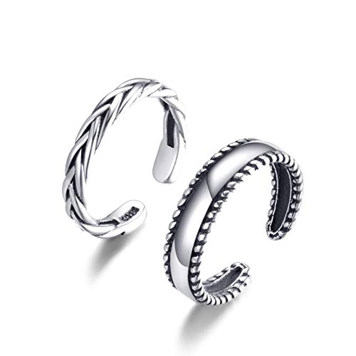 Cladtina 2PCS Sterling Silver Open Adjustable Toe Rings Vintage Braid Rings for Women Girls (Braided Style) ()