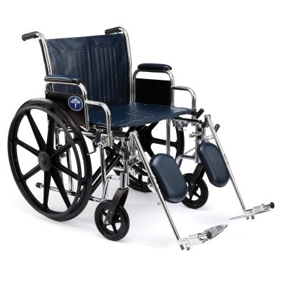 """Medline Excel Extra-Wide Wheelchair, 24"""" Wide Seat, Desk-Length Removable Arms, Swing Away Footrests, Chrome Frame"""
