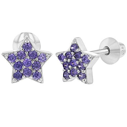 - 925 Sterling Silver Star Earrings Purple CZ Screw Back Baby Infant Little Girls