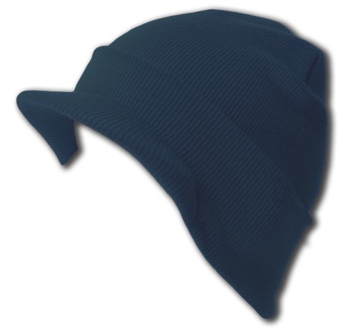 Knit Cuff Beanie Visor - Winter Wear/Sports - Navy Blue