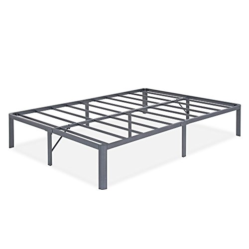 Olee Sleep 14 Inch Tall T-2000 Round Edge Steel Slat Non-slip Support Bed Frame (Full, Grey)