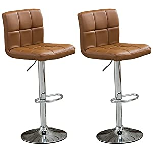 Roundhill Swivel Leather Adjustable Hydraulic Bar Stool, Set of 2