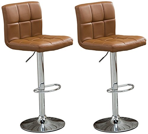 Roundhill Swivel Leather Adjustable Hydraulic Bar Stool