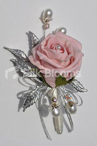 Vintage Dusty Pink Rose Silver Leaf Brooch Wedding Corsage Amazon