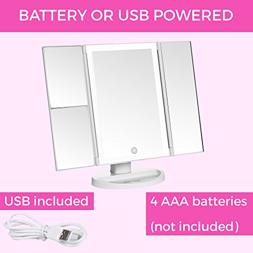 Absolutely Luvly Trifold Vanity Mirror with Lights   LED Makeup Mirror with Lights and Touch Screen Dimming - 1x 2x 3x Magnification - Portable Lighted Makeup Mirror   Great Vanity Mirror with Lights