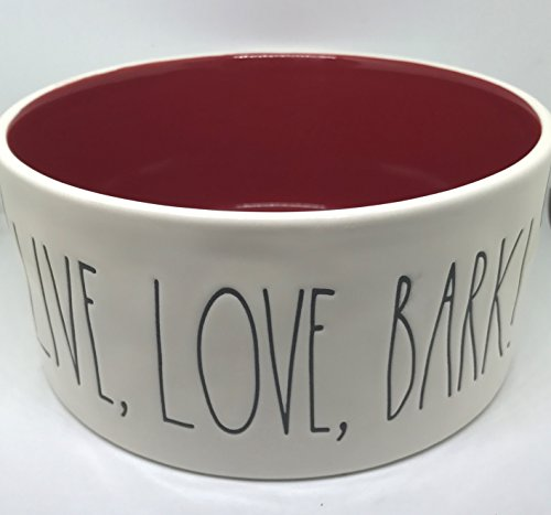 Christmas Dog Bowl (RARE Rae Dunn by Magenta LIVE LOVE BARK 6 inch pet bowl with Christmas Red interior)