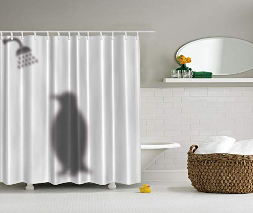 Ambesonne Animals Decor Funny Shower Curtain by, Penguin Shadow Fun Funny Shower Curtain Fabric with Hooks 69 X 70 Inches, Grey
