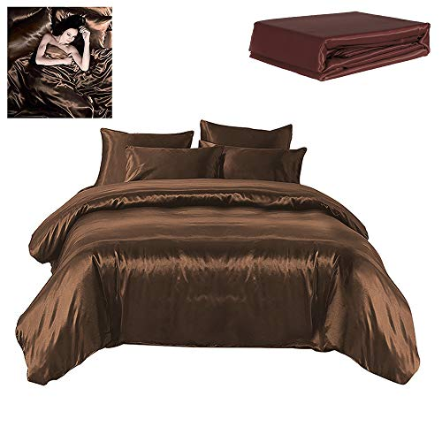 Todd Linens Sexy Satin Sheets 6 Pcs Queen/King Bedding Set 1 Duvet Cover + 1 Fitted Sheet + 4 Pillow Cases (Many Colors) Brown Queen (Brown Sheets Silk)