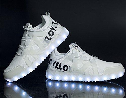 Zapatillas Matari Para Mujer Led Light Casual Transpirable Luminous Sneakers Flashing White