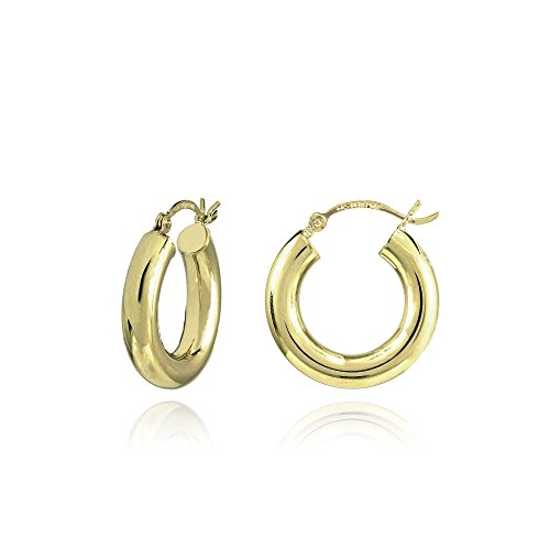 14K Gold High Polished 4x19mm Lightweight Small Round Hoop Earrings by Hoops & Loops