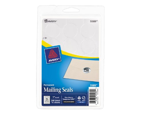(Avery Printable Mailing Seals, Silver Metallic, 1-Inch Round, Pack of 240 (5589))