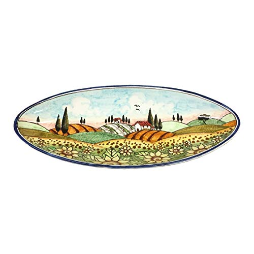 (CERAMICHE D'ARTE PARRINI - Italian Ceramic Art Pottery Serving Bowl Centerpieces Tray Plate Hand Painted Decorative Sunflowers Landscape Tuscan Made in ITALY )